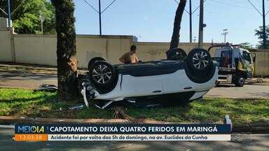 Capotamento deixa 4 feridos em Maringá - Acidente aconteceu na madrugada de domingo (25).
