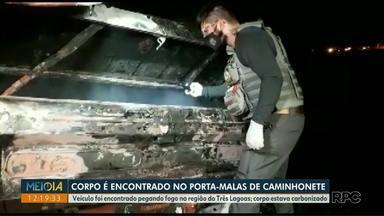 Corpo é encontrado no porta-malas de um carro em Foz do Iguaçu - Veículo foi encontrado pegando fogo na região do Três Lagoas.