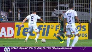 Mesmo jogando bem, Confiança perde para o América-MG no Independência - Placar foi de 2 a 1 para o Coelho; próximo duelo é contra a Chape em casa.
