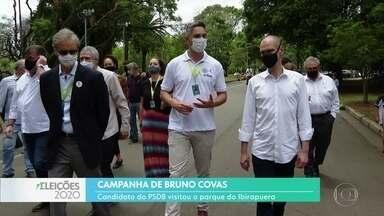 Bruno Covas visitou o parque Ibirapuera - O candidato à reeleição disse que vai manter a política de concessões.
