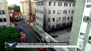 Mais um paciente morre por conta do incêndio no HFB - Bombeiros ainda trabalham no rescaldo.