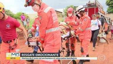 Menina de 6 anos cai em buraco e é salva pelos bombeiros, em Uberlândia - Resgate ocorreu após bombeiros cavarem um buraco paralelo.