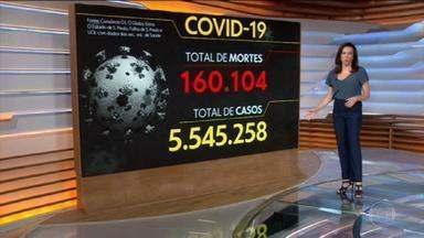 Brasil supera 160 mil mortes por coronavírus - País tem 160.104 óbitos registrados e 5.545.258 diagnósticos de Covid-19, segundo levantamento junto às secretarias estaduais de Saúde.