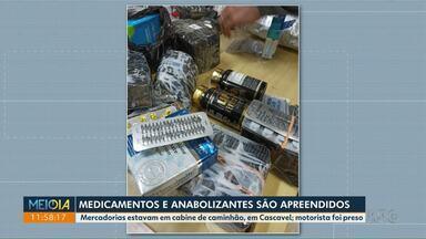 PRF apreende medicamentos e anabolizantes - Mercadorias estavam em cabine de caminhão, em Cascavel; motorista foi preso.