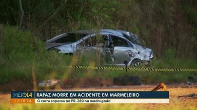 Jovem morre em acidente em Marmeleiro - O carro capotou na PR-280.