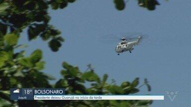 Bolsonaro deixa Guarujá de helicóptero após dias de descanso - Presidente ficou hospedado no Forte dos Andradas durante três dias.