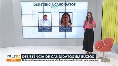 Dois candidatos de Búzios, RJ, anunciam desistência na disputa pela Prefeitura - Henrique Gomes, do Patriotas, e Joice Costa, do Progressistas, foram os candidatos a prefeito que desistiram do pleito.