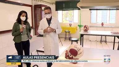 PUC retoma aulas práticas e laboratoriais de alguns cursos, hoje, em Belo Horizonte - As aulas são dos cursos do Instituto de Ciências Biológicas e da saúde.