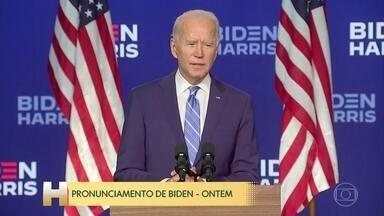 'Todos os votos precisam ser contados, ninguém vai tirar a nossa democracia', diz Biden - Biden fez pronunciamento no qual não se declarou vencedor, mas afirmou que sairá vitorioso quando todos os votos forem apurados.