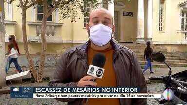 Nova Friburgo, RJ, tem poucos mesários para atuar nas eleições 2020 - O receio de contaminação pela Covid-19 é um dos motivos para a falta de confirmação de mesários já convocados.