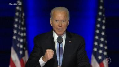 Joe Biden e Kamala Harris prometem, nos discursos de vitória, reunificar um país dividido - Milhões de americanos acordaram em festa depois de uma semana de muita ansiedade e expectativa pelo resultado das urnas. A eleição presidencial com recorde de votos deve marcar uma guinada na política dos Estados Unidos.