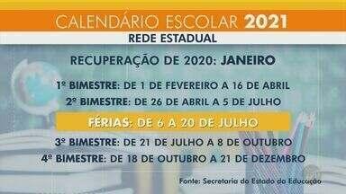Secretaria Estadual de Educação de São Paulo anuncia calendário letivo de 2021 - Ano letivo será dividido em quatro bimestres, com alguns dias de folga entre eles. Alunos que tiveram baixo rendimento neste ano farão recuperação em janeiro.