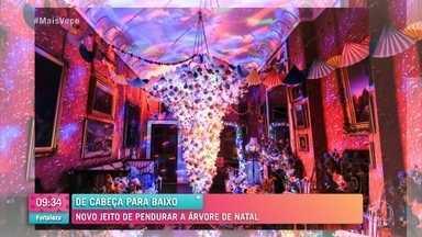 Ana Maria Braga se espanta com árvores de natal de ponta-cabeça - Apresentadora mostra novo jeito de usar a decoração natalina neste ano diferente