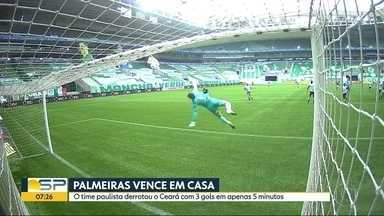 Palmeiras faz 3 gols em 5 minutos e vence Ceará pela Copa do Brasil - Time paulista sai na frente por vaga na próxima fase.