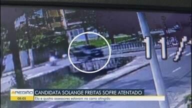 Carro de Solange Freitas, candidata a prefeita de São Vicente, é alvo de tiros - Ela e quatro pessoas estavam no carro atingido.