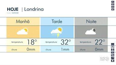 Deve chover durante a tarde desta quinta-feira (12), em Londrina - A temperatura pode chegar aos 32 graus.