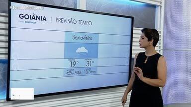 Veja como fica o tempo na sexta-feira, em Goiás - Pode chover em várias regiões.