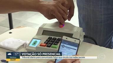 TSE alerta eleitores sobre golpe que sugere votação pela internet - Votação só presencial. Não é possível votar pela internet.