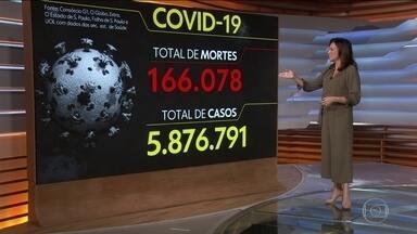 Brasil chega a 166.078 mortes por Covid; 16 estados e DF registram alta - País tem 166.078 óbitos e 5.876.791 diagnósticos pela Covid-19, segundo levantamento junto às secretarias estaduais de Saúde. Médias móveis de mortes e de casos estão em alta.