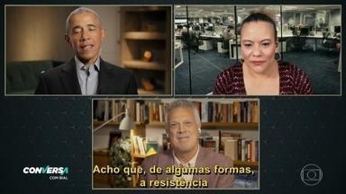 Flávia Barbosa pergunta para o ex presidente qual a opinião dele sobre as mulheres no poder - Barack fala sobre sua esposa e sobre mulheres na presidência