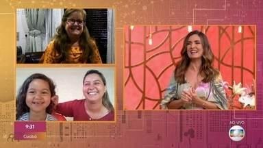 Anna, que ficou com cabeça presa em panela, surpreende com Fátima: 'Fiquei famosa' - Menina diverte apresentadora do 'Encontro'