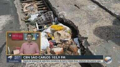 Após temporal, moradores de São Carlos reclamam de bueiros sujos - Veja as informações com Flávio Mesquita, da CBN São Carlos.