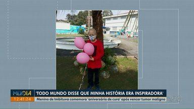 Menino de Imbituva comemora 'aniversário de cura' após vencer tumor maligno - João, de Imbituva, completou um ano curado da doença.