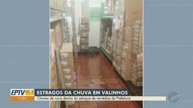 Remédios e insumos do almoxarifado da Saúde de Valinhos vão para o lixo por conta da chuva - O problema aconteceu pela primeira vez em 2017 e voltou a se repetir em 2018.