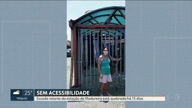 Usuários reclamam que escada rolante de estação de Madureira está quebrada - Supervia disse que acesso à rua João vicente está nterditado por questões de segurança e que aguardam tempo seco para fazer reparo no sistema elétrico do equipamento
