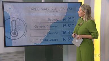 Tempo encoberto e frio no leste do estado - Curitiba fica instável nos próximos dias.