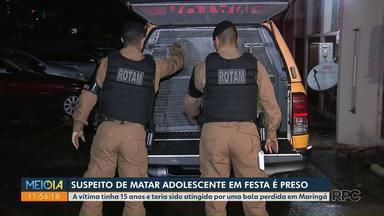 Polícia Militar prende suspeito de matar adolescente em festa - A vítima tinha 15 anos e teria sido atingida por uma bala perdida em Maringá.
