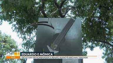 """Escultura em homenagem a Renato Russo é descaracterizada no Parque da Cidade - A obra da artista Mara Nunes está há 19 anos na praça que recebeu o nome de """"Eduardo e Mônica"""". E esse não é o único exemplo recente de descaracterização do patrimônio histórico e artístico do DF."""