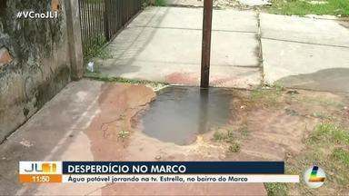 Vazamento na tv. Estrella em Belém causa desperdício de água - Morador do bairro do Marco fez vídeos da situação.