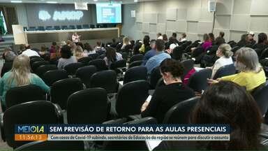 Covid-19 - Sem previsão das aulas presenciais voltarem em Cascavel - Nesta quinta-feira, secretários de Educação da região oeste se reuniram para discutir o assunto.