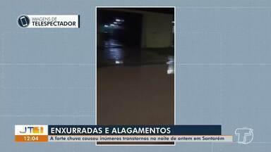 Forte chuva causa inúmeros transtornos na noite de quarta em Santarém - Foram registrados pontos de alagamentos em várias ruas da cidade.