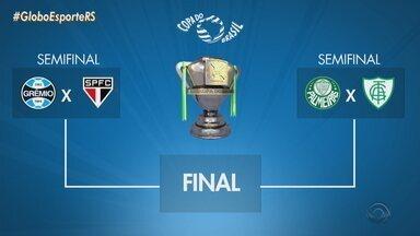 Veja como ficou o chaveamento da semifinal da Copa do Brasil após os jogos de quarta-feira - Grêmio enfrenta o São Paulo e Palmeiras encara o América-MG.