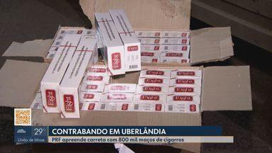 Carga de cigarro contrabandeada da fronteira com o Paraguai é apreendida na BR-050 - Segundo a PRF, os 800 mil maços vinham do Mato Grosso do Sul com destino a Uberlândia.