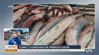 Cinco toneladas de pirarucu ilegal são apreendidas em Coari, no AM - Apreensão foi feita por policiais da Base Arpão; uma pessoa foi presa.