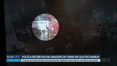 Polícia recebe novas imagens do crime no posto de combustível em Quatro Barras - Justiça decreta prisão preventiva de vigilante que atirou e matou dono de posto.