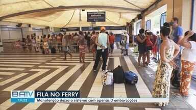 Manutenção deixa sistema ferry-boat com apenas 3 embarcações nesta quinta-feira - Tempo médio de espera para pedestres passou de uma hora. Para quem estava de carro, o tempo de espera passou de duas horas.