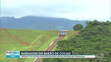 Defesa Civil vai começar retirada de moradores de casas em Barão de Cocais - Famílias vivem em área de autossalvamento da barragem Norte/Laranjeiras, da mina de Brucutu, que foi elevada para nível 2 de emergência.