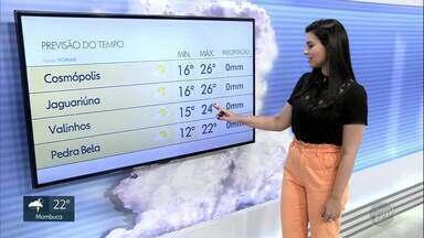 Tempo volta a ficar firme na região de Campinas; veja a previsão desta sexta-feira (20) - Em Cosmópolis (SP) e Jaguariúna (SP), mínimas serão de 16ºC e máximas de 26ºC.