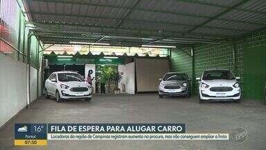 Locadoras da região de Campinas registram aumento na procura por automóveis - Mesmo com aumento na procura de aluguel de automóveis, locadoras relatam que estão com a frota menor neste período de pandemia.