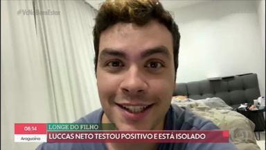 Luccas Neto testa positivo para Covid-19 - Essa semana, o youtuber Luccas Neto se emocionou no programa Encontro. Ele conversou com a Fátima Bernardes e disse que se contaminou. Está em isolamento dentro de casa e não pode ver o filho que acabou de nascer.