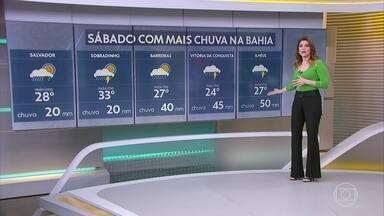 Bahia ainda tem previsão de temporais. Região norte também. - Rio Grande do Sul terá próximos dias secos e quentes. Confira a previsão para outras partes do país.