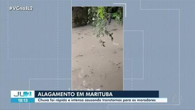 Chuva rápida causa transtornos em Marituba - Cidade teve alagamentos e trânsito complicado.