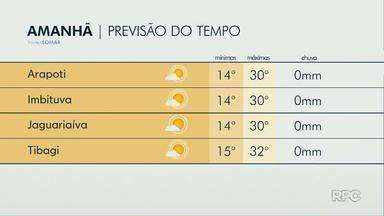 Temperaturas nos Campos Gerais devem passar dos 30ºC nesta quarta-feira (25) - Em Ponta Grossa, dias quentes continuam até o fim da semana.