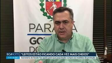 Secretário de Saúde faz apelo à população por causa da lotação de UTIs - Beto Preto pede para que os paranaenses continuem com os cuidados de prevenção contra o coronavírus.