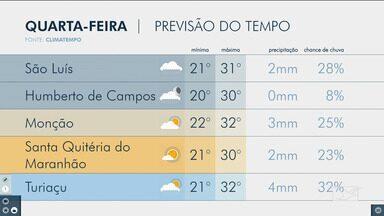 Veja as variações das temperaturas no Maranhão - Confira a previsão do tempo para esta quarta-feira (25) em São Luís e também no interior do estado.