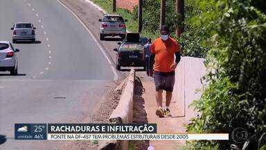 Ponte da DF-457, que liga Taguatinga a Samambaia, tem rachaduras e infiltração - O local tem um fluxo diário intenso de carros e caminhões. Motoristas e pedestres contam que passam por ali com medo.